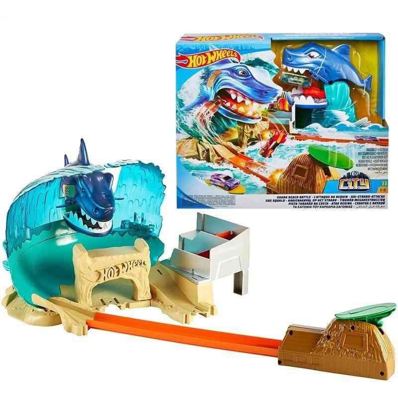 Hot Wheels City Series Shark Beach Battle Play Set Kid Track Toy