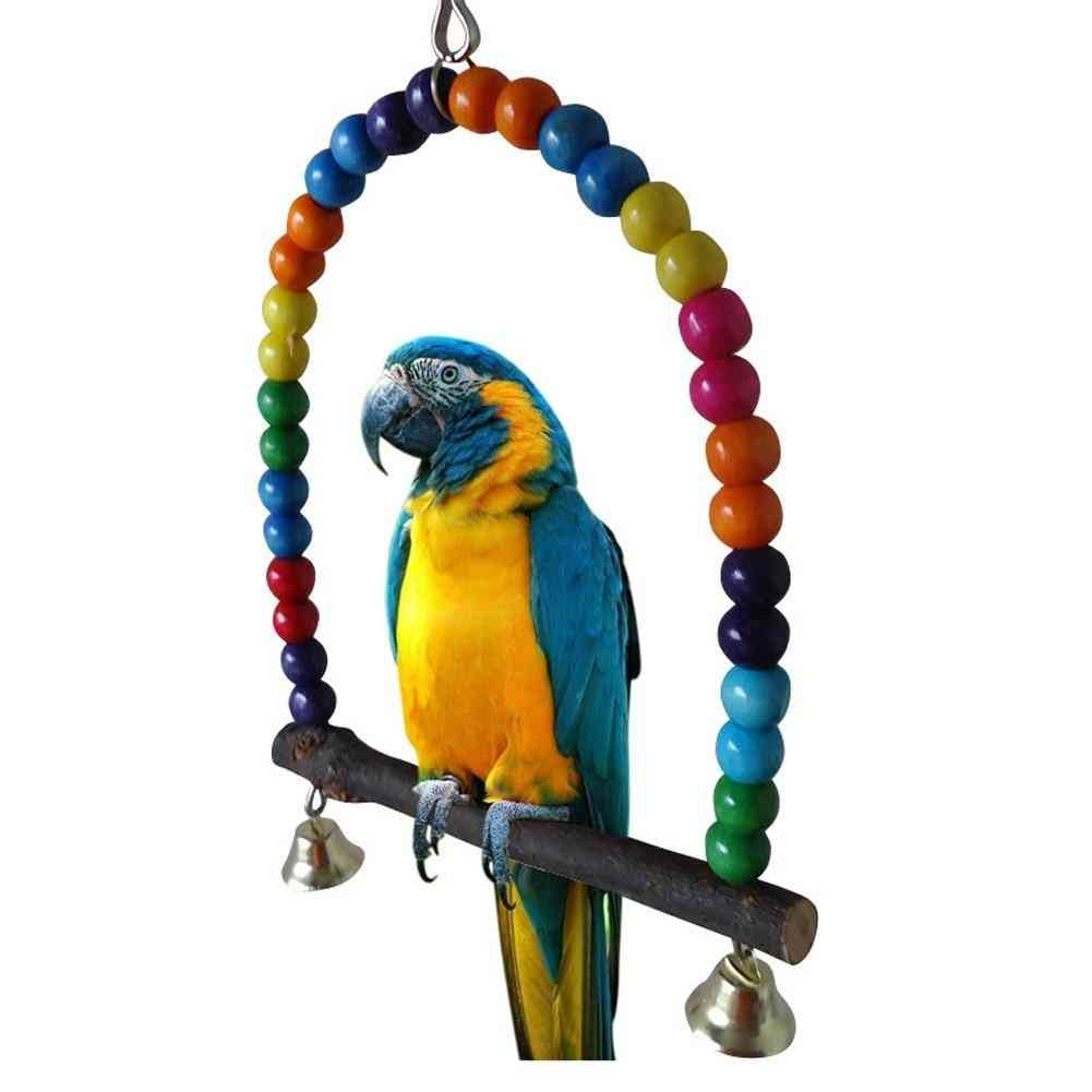 Wooden Parrots Swing Toy Birds Colorful Beads Bird Supplies Bells