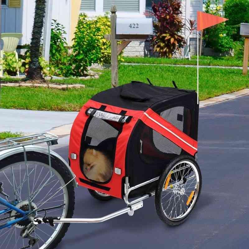 Outdoor Trailer Trolley Pet Car 137*73*90cm Foldable Pet Dog Bicycle Trailer Push Cute Animal Trolley Foldable Small Car Hwc