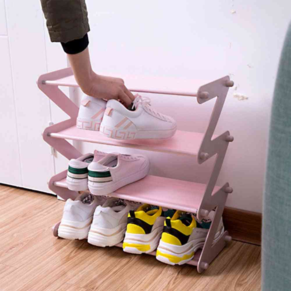 Multi-layer Z-shaped Shoes Rack Entrance Hall Stainless Steel Storage Shelf
