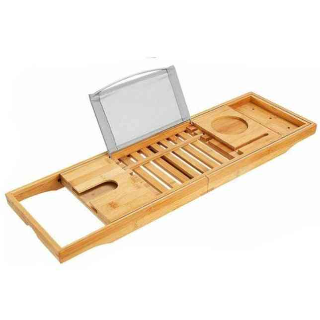 Extendable Bamboo Bath Caddy Adjustable Home Spa Wooden Tray