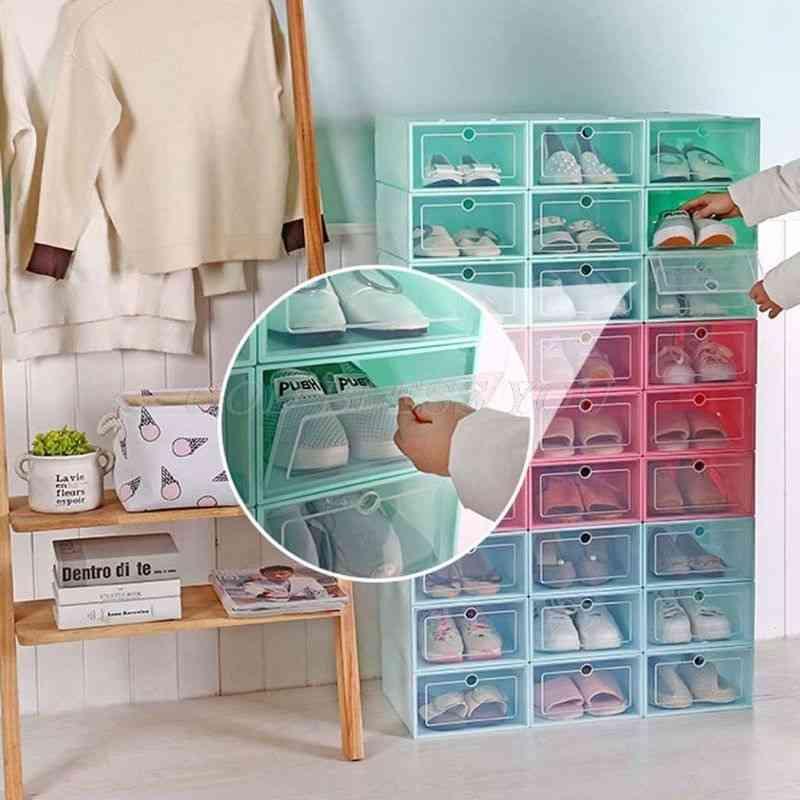 Plastic Stackable Foldable Shoe Organizer Drawer Storage Case