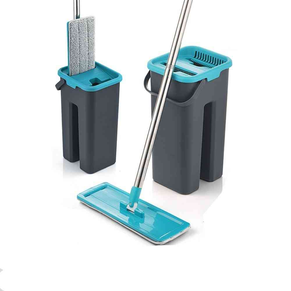 Magic Microfiber Cleaning Mops Free Hand With Bucket Flat Squeeze Floor Cleaner