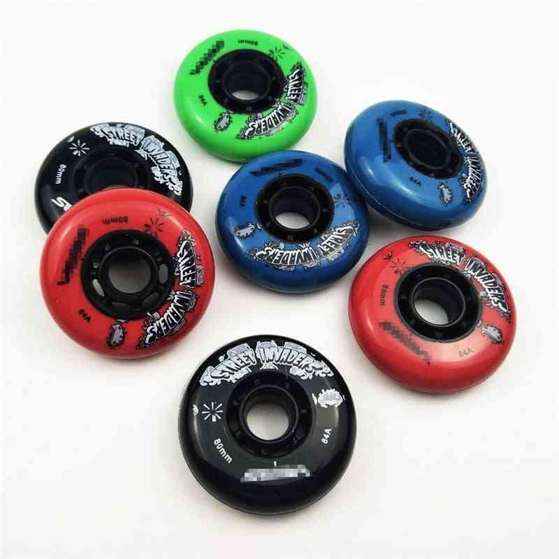 84a Street Invaders Skating Seba Wheel 80 76 72mm Patines Tire For Roller Fsk Inline Skates Wheel For Seba Hv 4 Pieces/lot