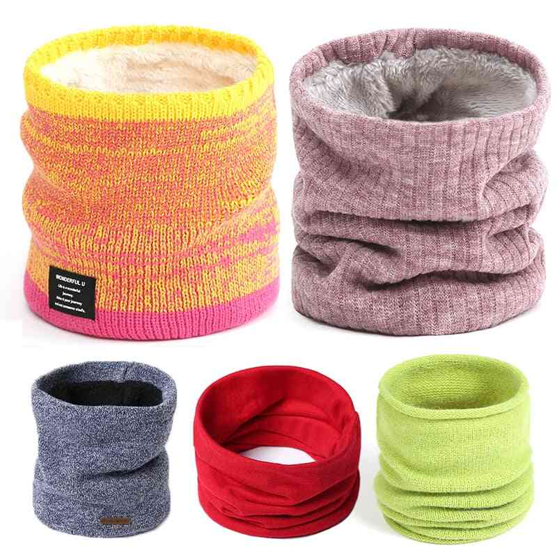 Women Knitted Scarf, Cashmere-like Lady Winter Snood Warm Wool, Fur, Thick Unisex Neck Foulard Ring