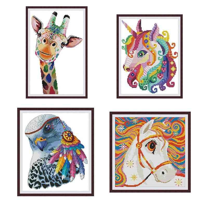 Colorful Animal Giraffe Horse