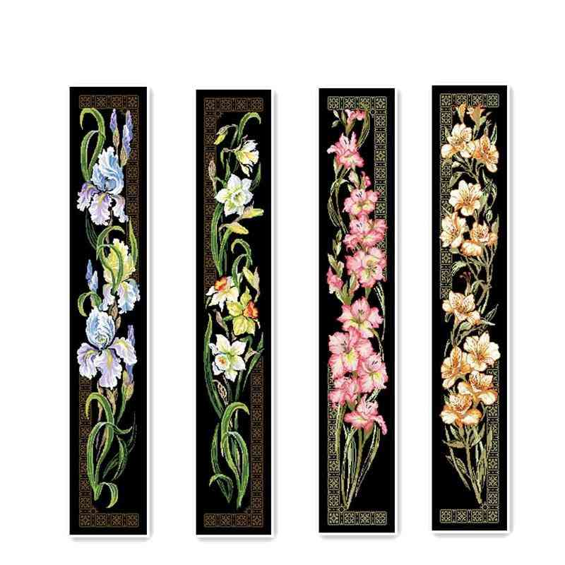 Orchid Cross Stitch Package Flower Aida Black Cloth People Kit