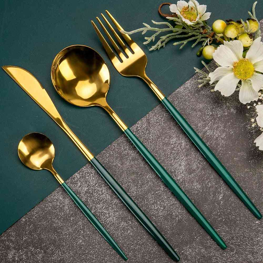 Cutlery Set. Tableware Sets Of Dishes Knives Spoons