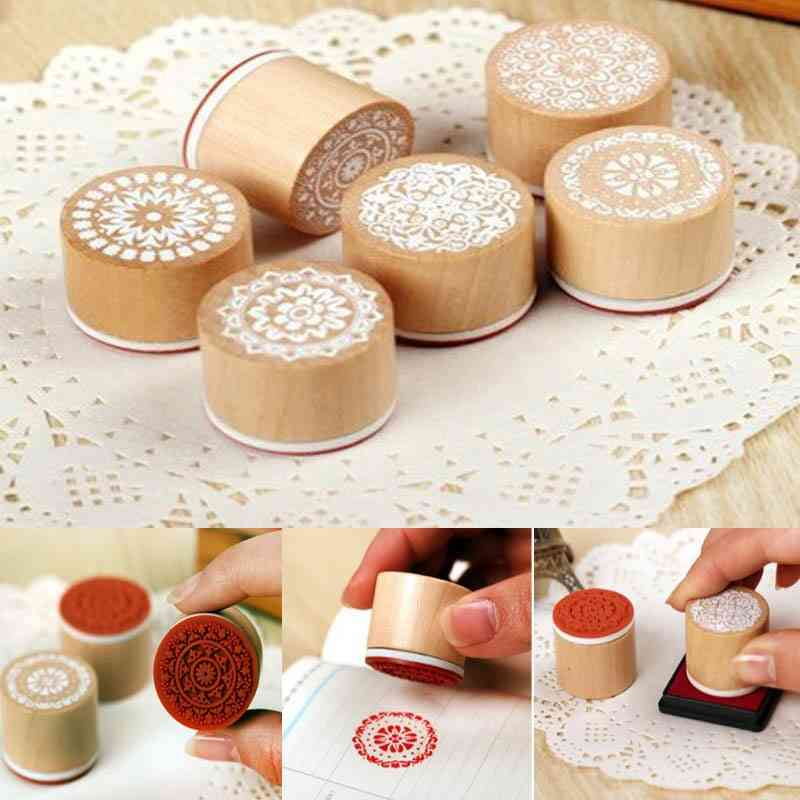 Round Wooden Vintage Pattern Stamps  Lace Series Drawing Paint Tools..