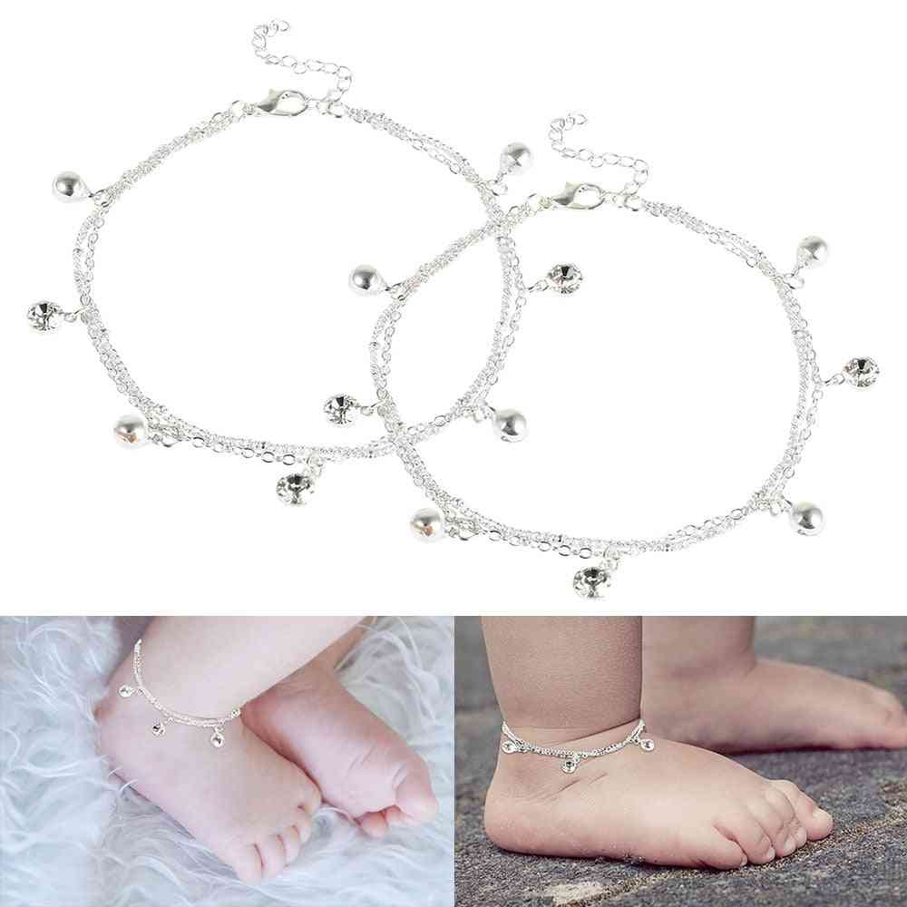 Birthday Bell And White Stone Charm Foot Bracelet