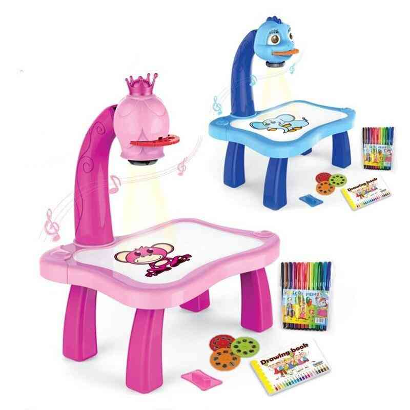 Kids Educational Early Learning Musical Projector Projection Painting Drawing Table Desk