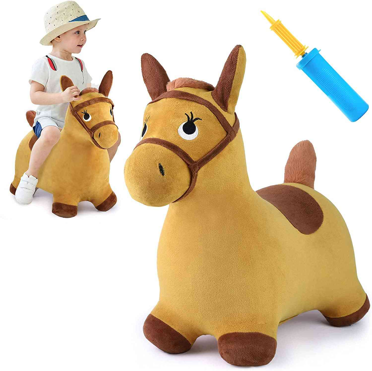 Kids Ride On Bouncy Play Yellow Hopping Horse Plush Inflatable Hopper Birthday
