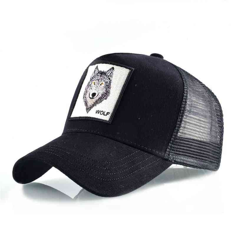 Breathable Mesh Snapback Embroidery Animal Caps.