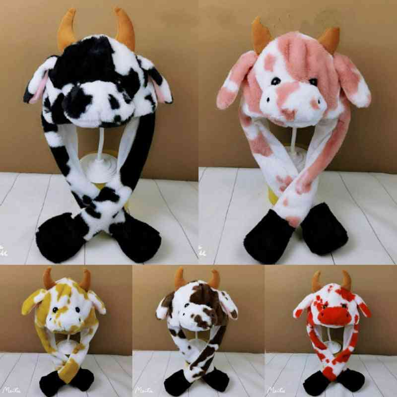 Cow, Rabbit Hat With Light, Air Float Filling Ear, Moving Cap, Cartoon Plush Stuffed For Kids