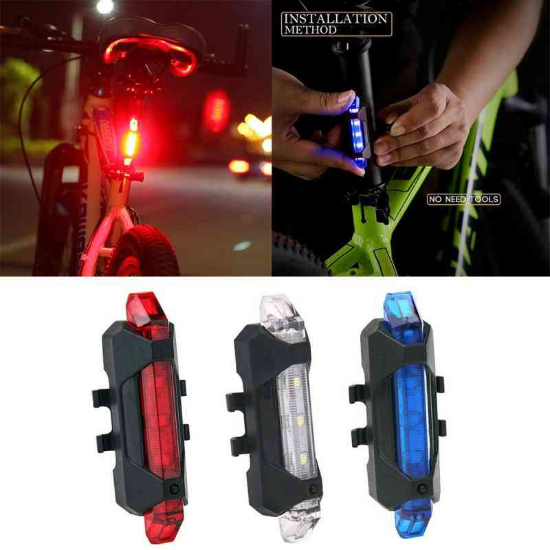 Bike Warning Safety Lamp Bicycle Rear Light Cycling Led Usb Rechargeable Flashing Waterproof Night Mountain Bike Accessories