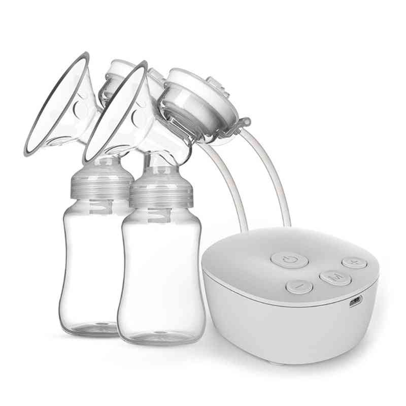 Electric Double Breast Pump Kit With 2 Milk Bottles