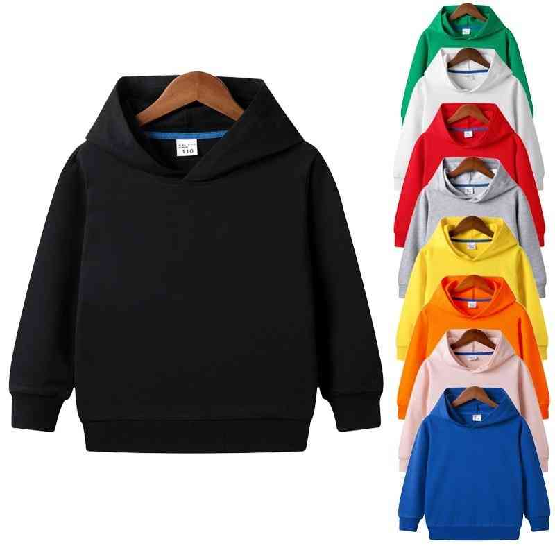 Solid Plain Hoodie Sweatshirt Tops - 2