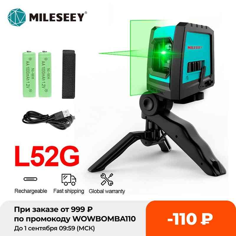 Mileseey New 2 Lines Laser Level L52r Professional Vertical Cross Laser Leveler With Battery And Tripod ???????? ???????