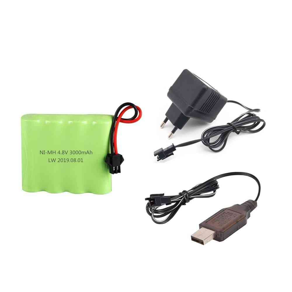 Sm Plug 4.8v 3000mah Nimh Battery + Charger For Rc Battery Pack