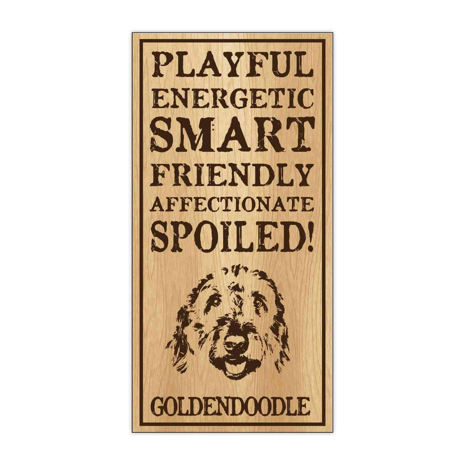 Sign, Wood, Spoiled Goldendoodle, 5