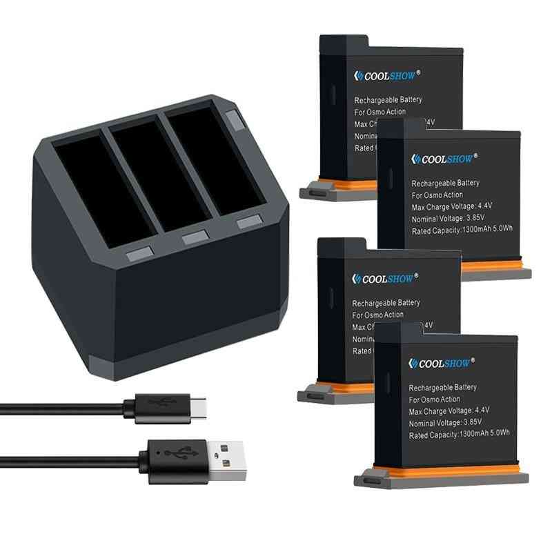 Action Camera Battery 1300mah Channel Usb Charger