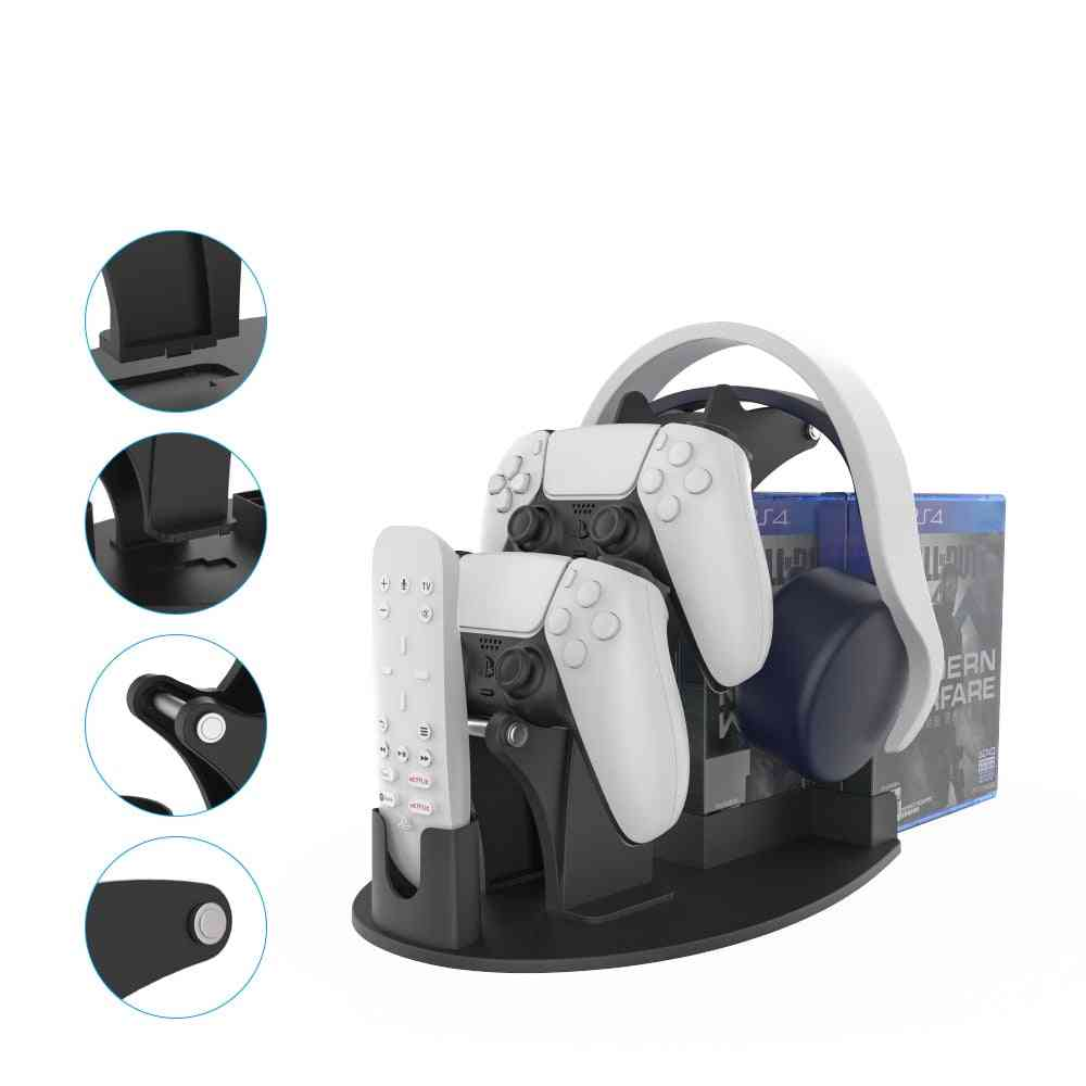 Universal Controller Stand With Headphone Hanger Remote Control Game Discs.