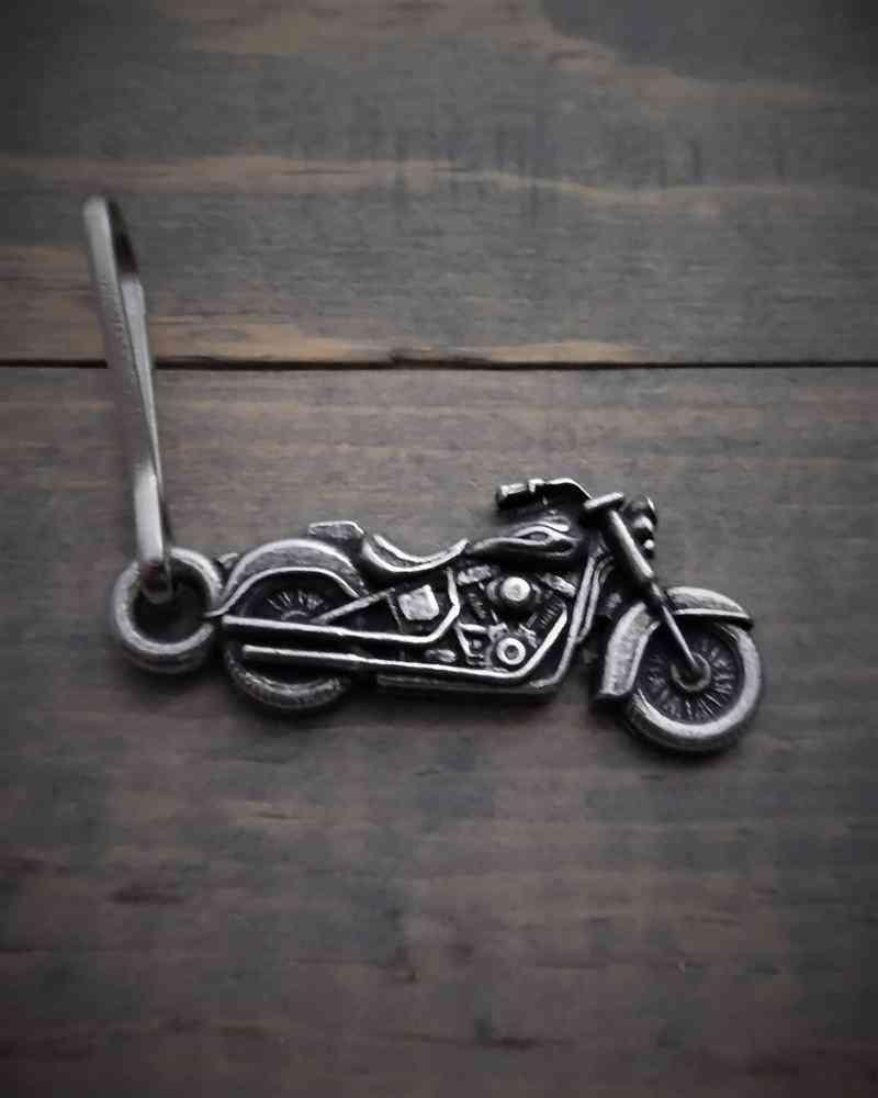 Zipper Pull, Metal, Motorcycle, .5