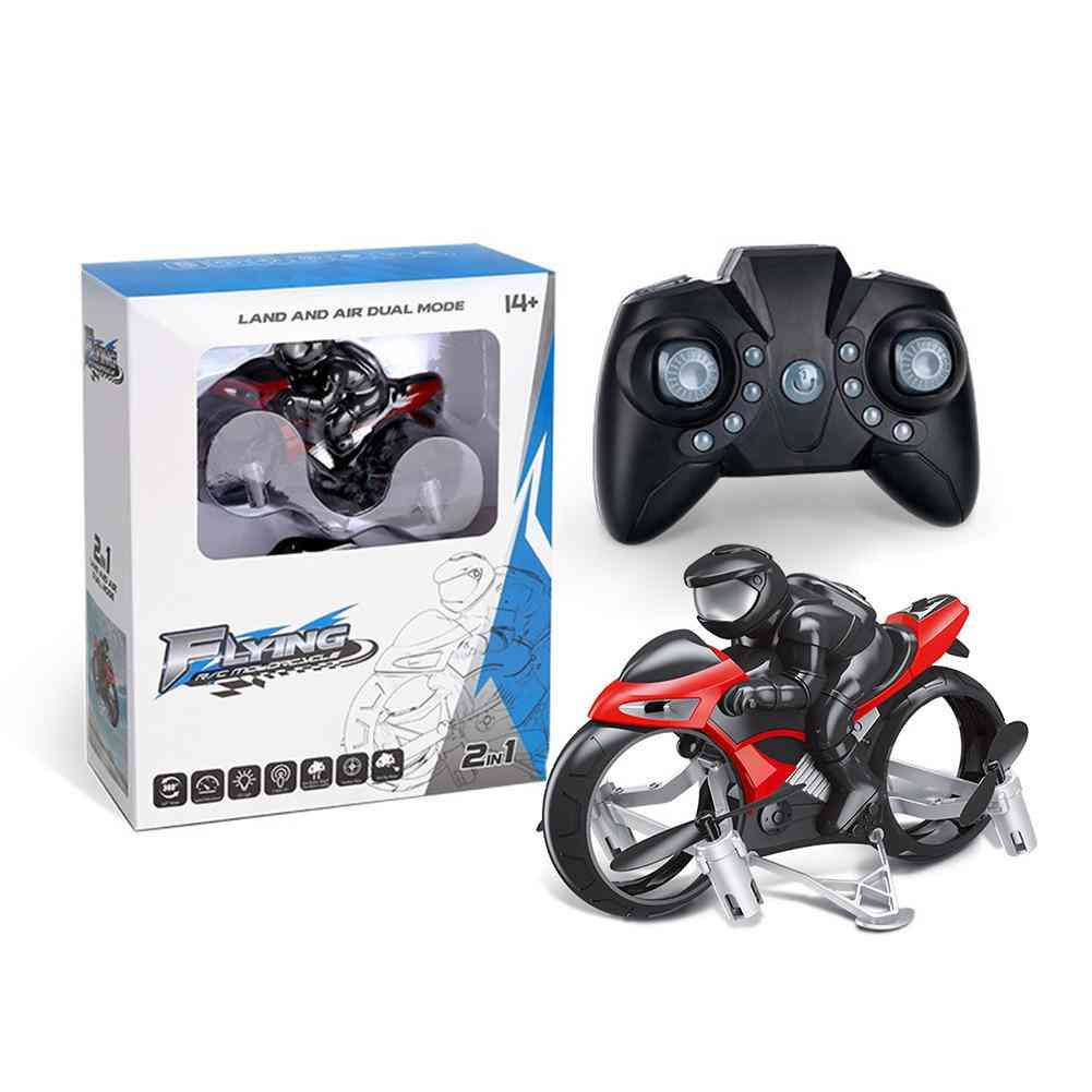 Rc Stunt Motorcycle 2 In 1 Land Air 2.4ghz Flying Off-road Motorcycle