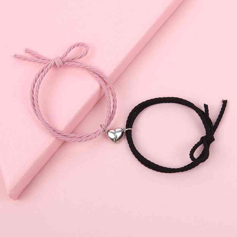 Magnetic Stainless Steel Heart Pendant Charm Couple Bracelets