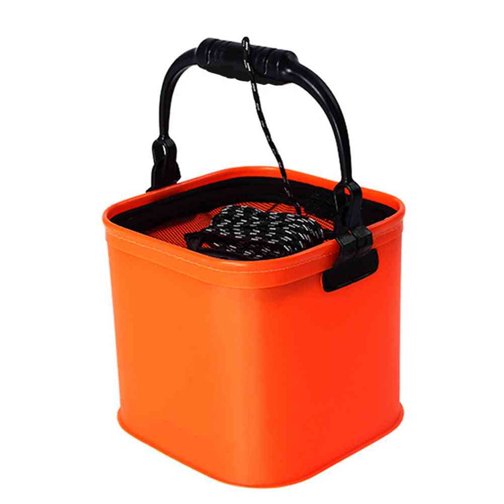 Foldable Eva Water Bucket With Rope Belt Outdoor Collapsible Bag