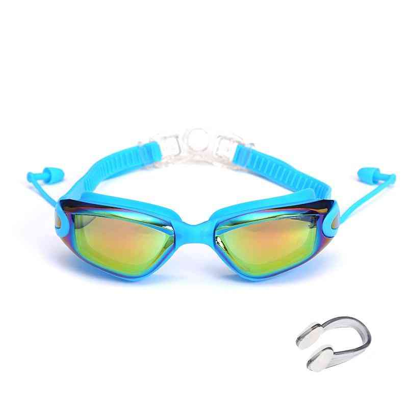 Swimming Glasses With Earplugs Nose Clip Electroplate Waterproof