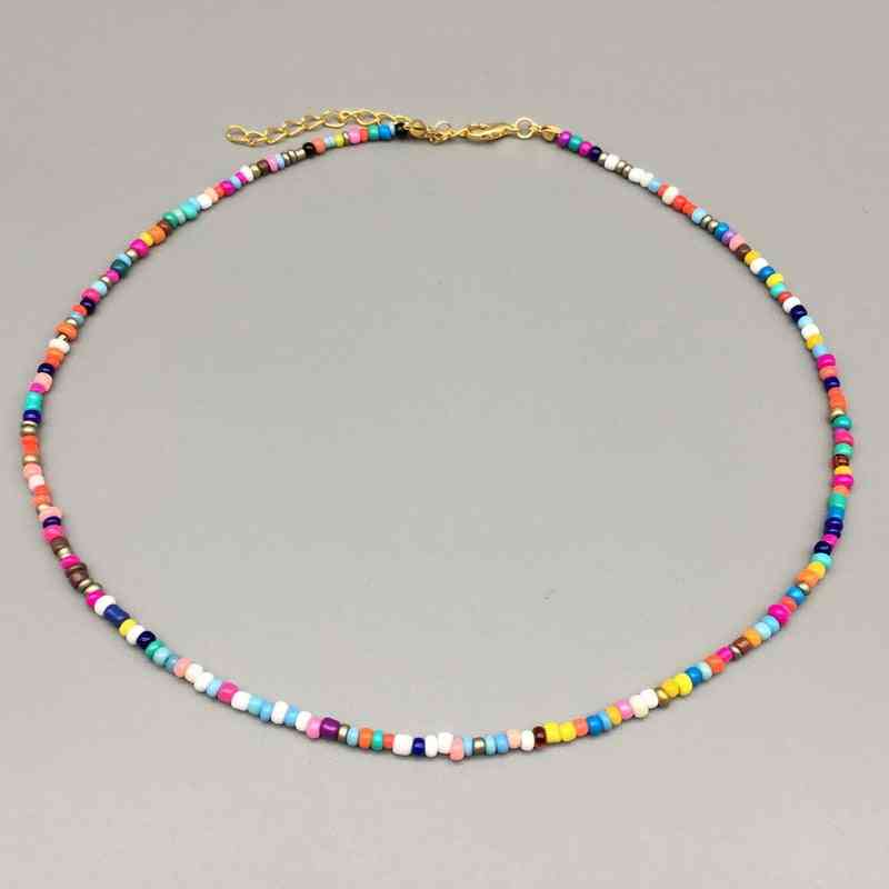 Simple Seed Strand Women String Beaded Necklace