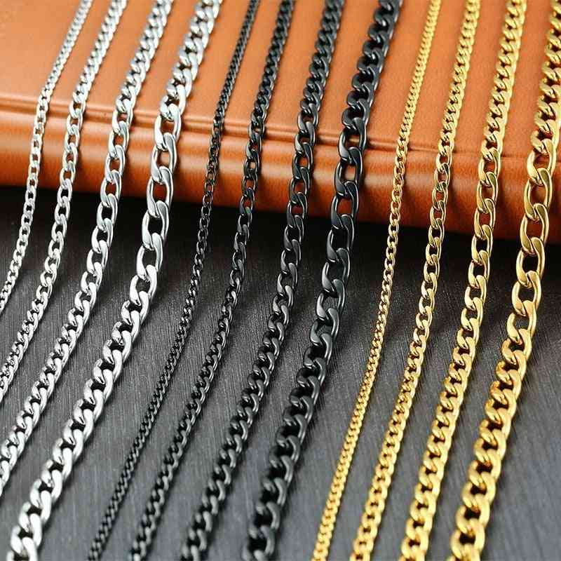 Men's Cuban Link Chain Necklace Stainless Steel Gold Black Color Male Choker
