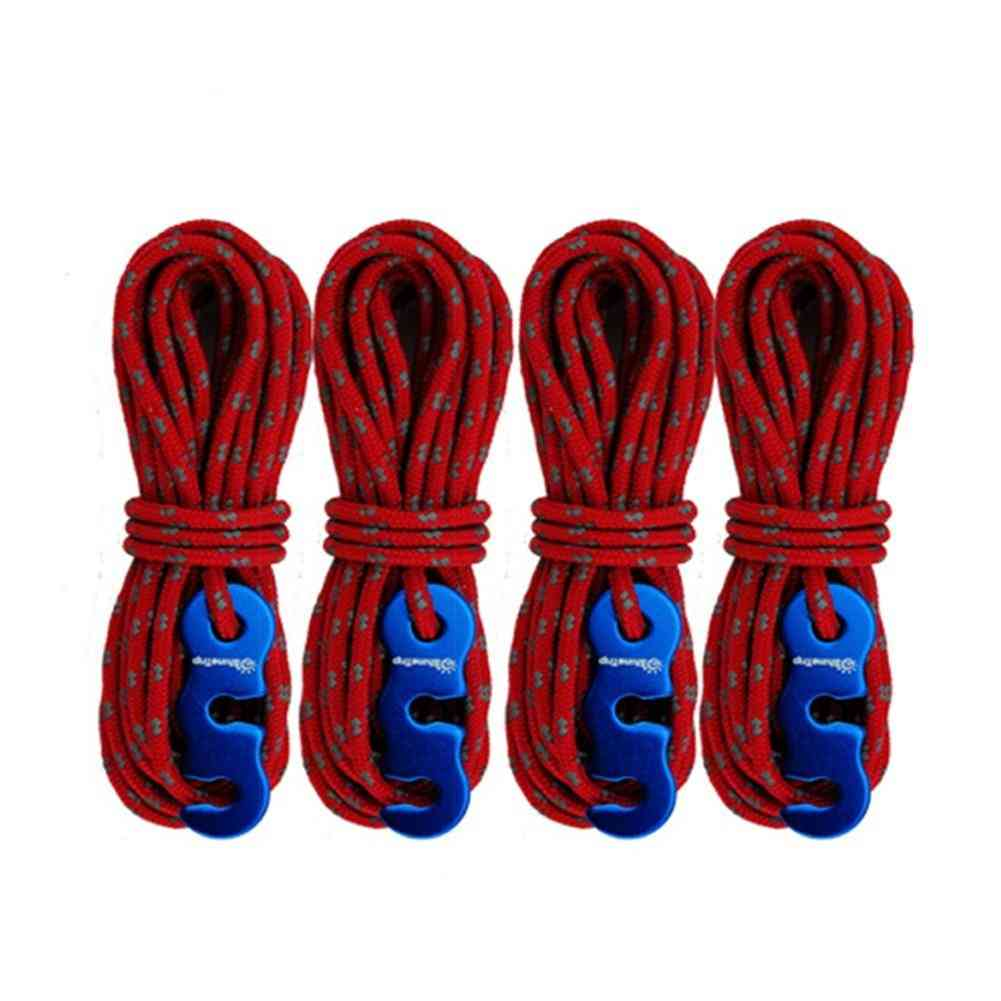 S-ring Hooks High-strength Reflective Wind Rope Outdoor Camping 4pcs 3mm.