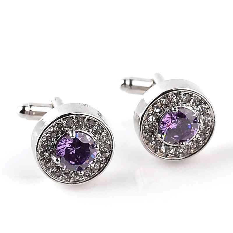 Jewelry Men's White Purple Enamel Crystal Cufflinks Round Wedding Party