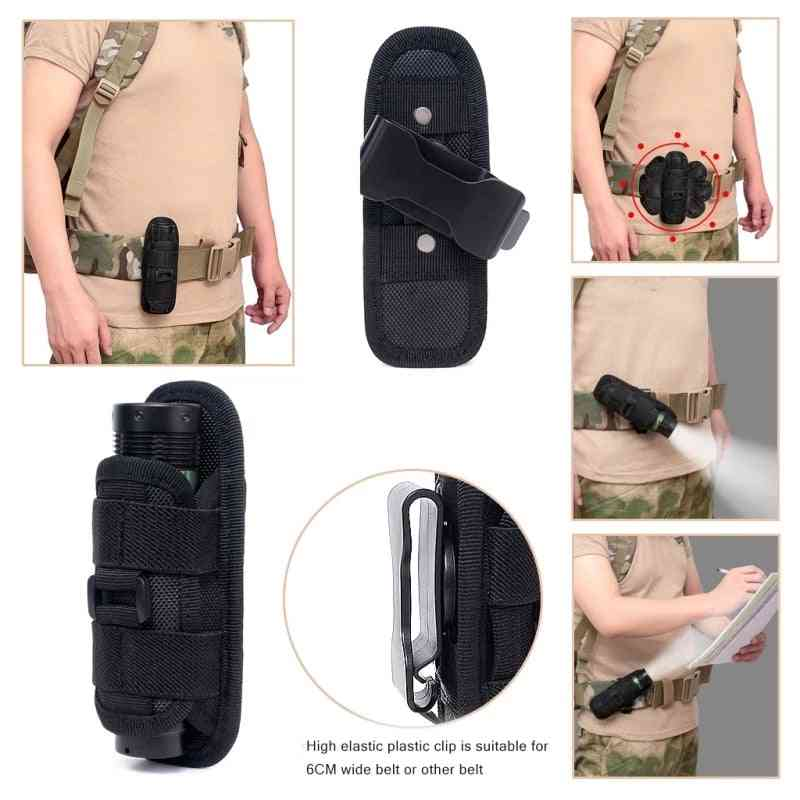 Tactical 360 Degrees Rotatable Flashlight Pouch Holster Torch Case For Belt Torch Cover Hunting Lighting Accessory Survival Kits