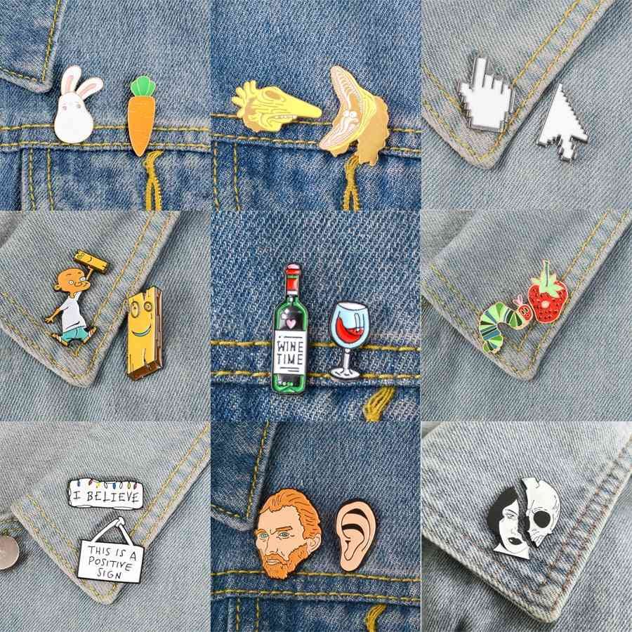 Brooches And Pins Icon, Animal Set, Cartoon Jewelry