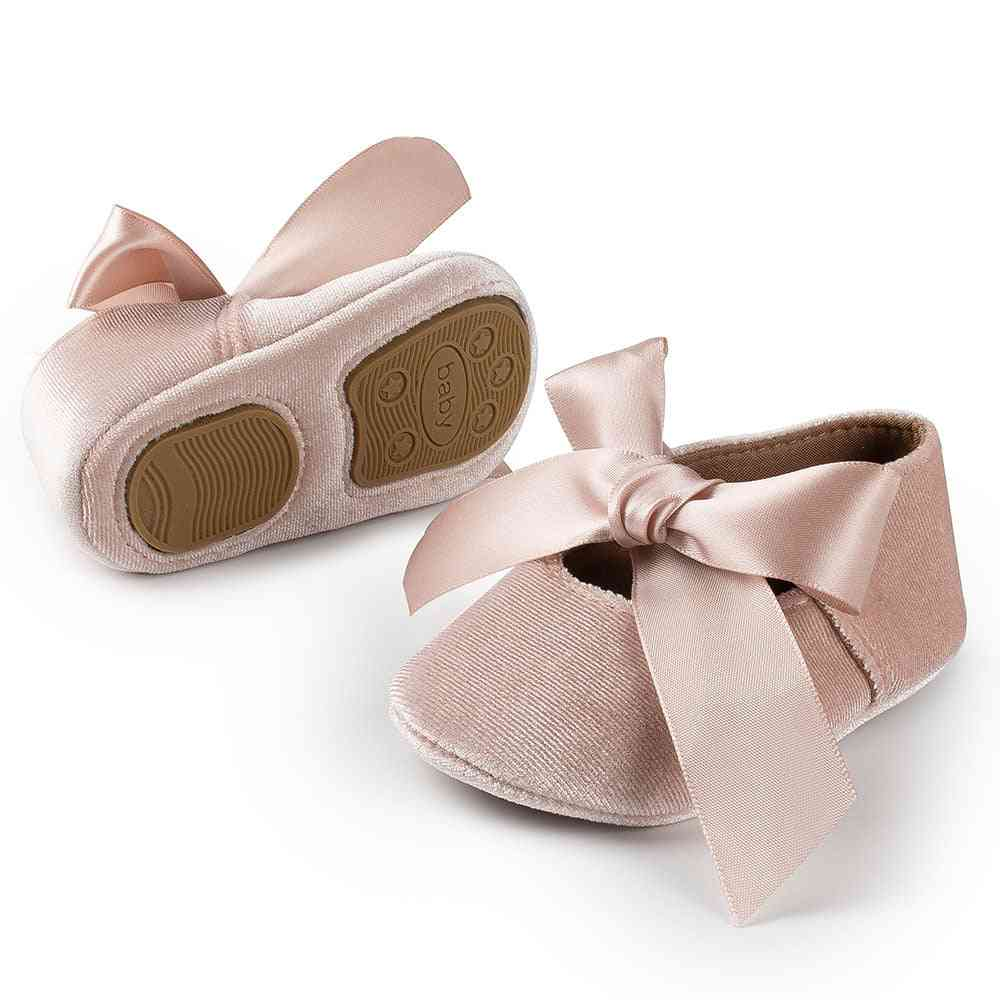 Baby Girl Shoes Nonslip Cotton Rubber Crib Lovely Butterfly-knot Infant