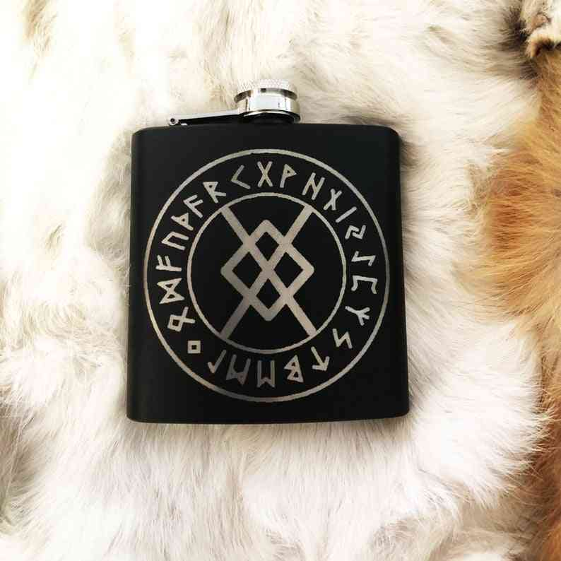 Black Flask 8oz Stainless Steel. Norse Nordic Flask Laser Engraved