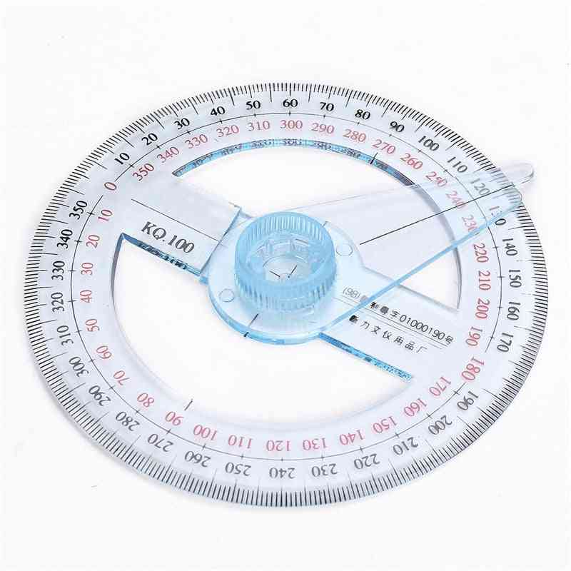 Portable  Plastic 360 Degree Pointer Protractor Ruler