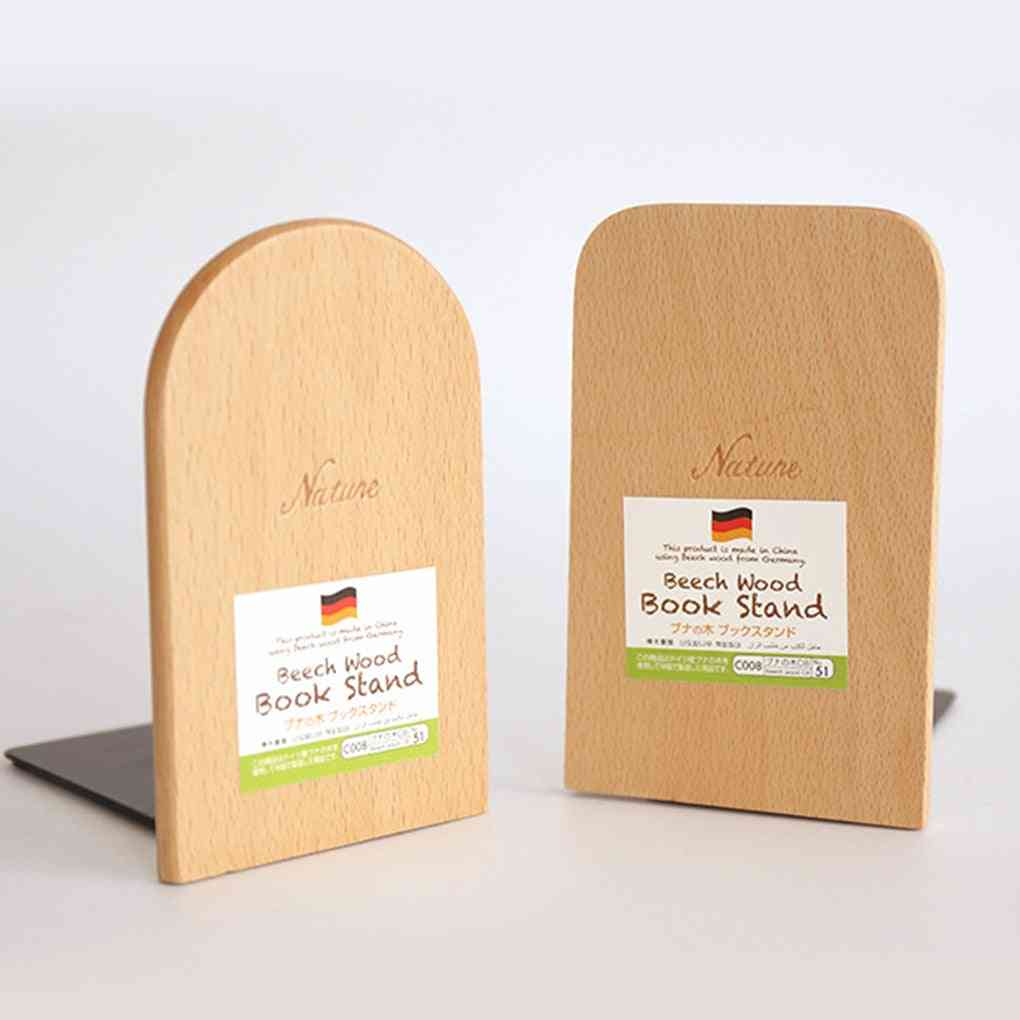 Nature Beech Wood Book Stand Anti-skid Bookends