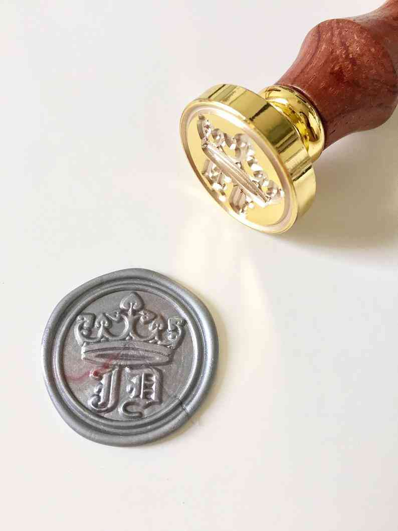 Crown Wedding Wax Seal Stamp With Initials