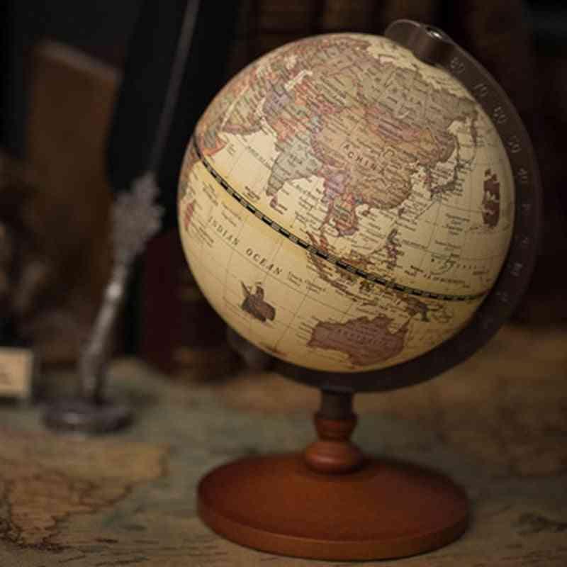 Wooden Globe Vintage Home Decoration Desk Toy