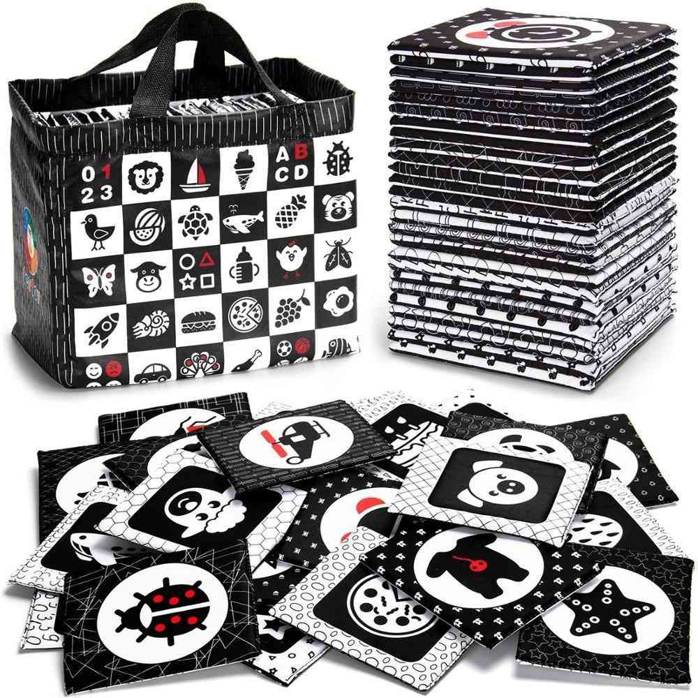 Teytoy Black And White Soft Flash Cards, 26 Patterns Babies Visual Puzzle Early Educational, Washable Fabric Baby