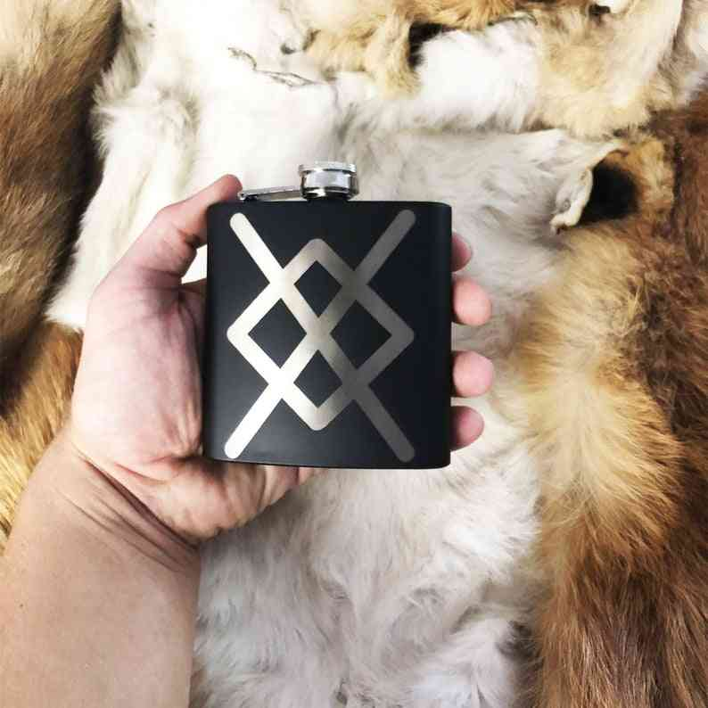 Symbol Mat Black Flask 8oz Stainless Steel. Norse Nordic Flask