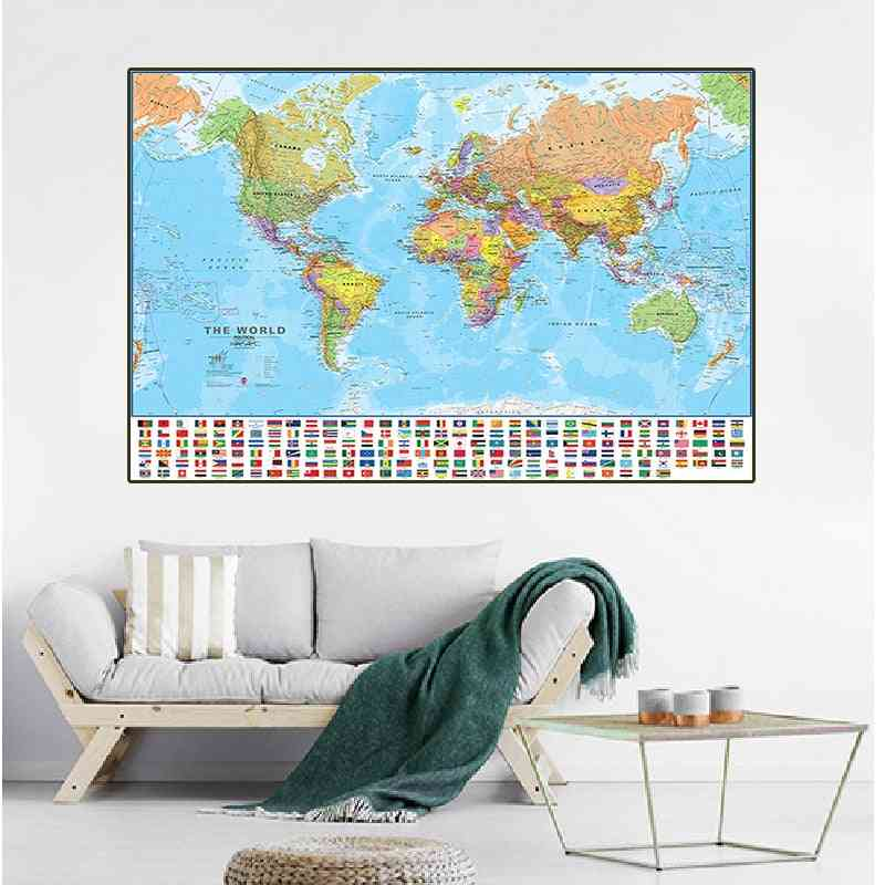 90*60cm The World Map With National Flags Canvas Painting Posters And Prints