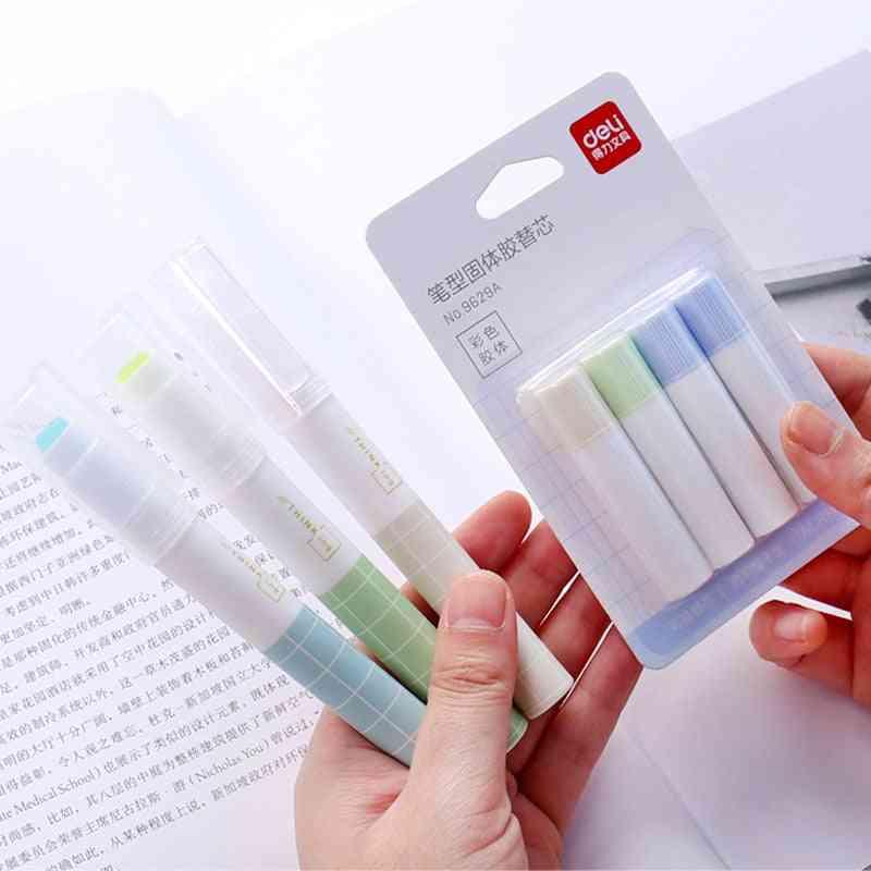 Fast Dry Cute Glue Stick Pen Shape Solid Color Glue Stick