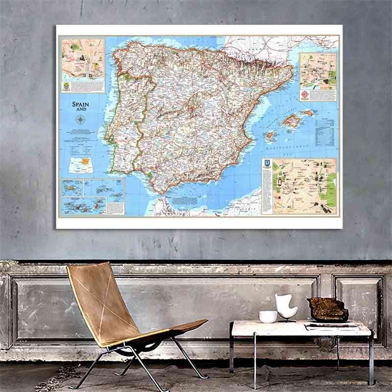 100x150cm The World Physical Map Non-woven Spain And Portugal World Map