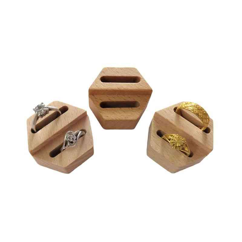 Wooden Hexagon Ring Display Stand