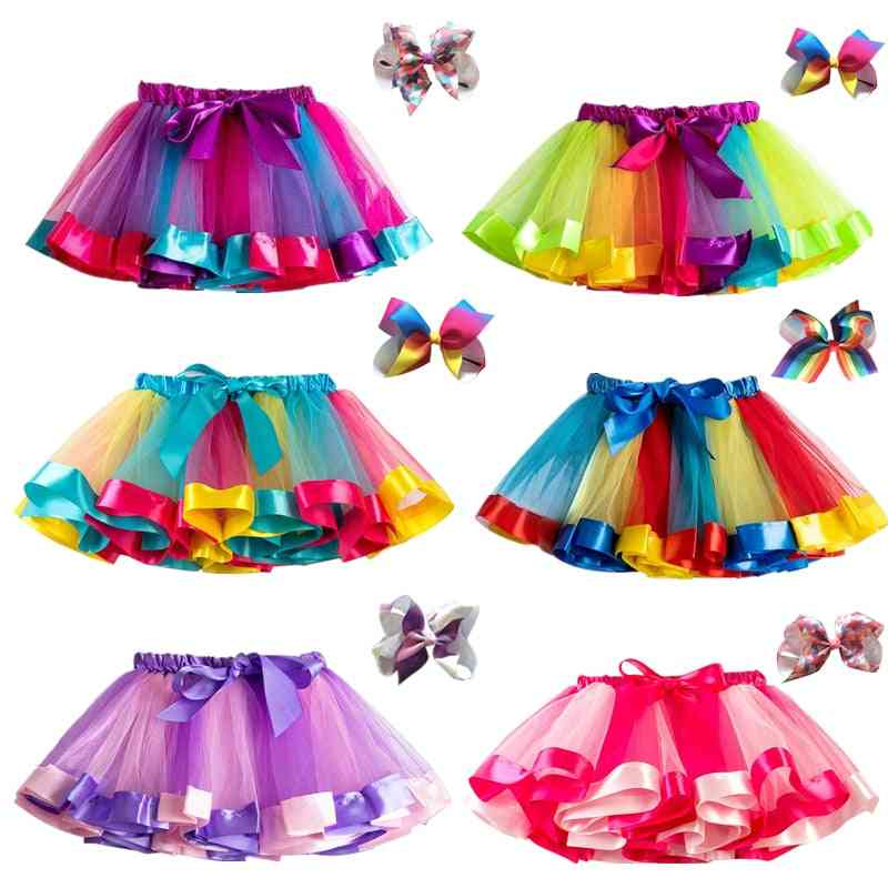 Girls Tutu Skirt, Rainbow Tulle Kids Princess Skirt